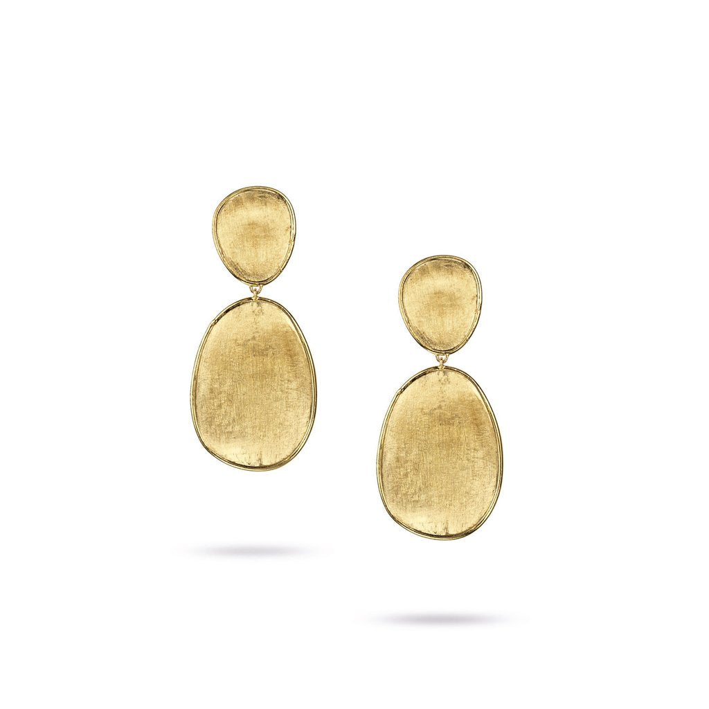 Marco Bicego Lunaria 18K Yellow Gold Hand-Engraved Stud Dangle Earrings