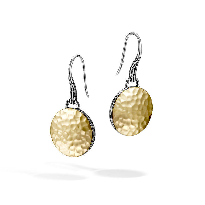 John Hardy Dot 18K Yellow Gold and Sterling Silver Round Drop Earrings with Palu Hand Hammering