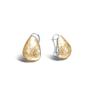 John Hardy Classic Chain Two-Tone Buddha Belly Earrings with Palu Hand-Hammering