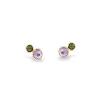 Marco Bicego Jaipur Color 18K Yellow Gold Amethyst and Green Tourmaline Earrings