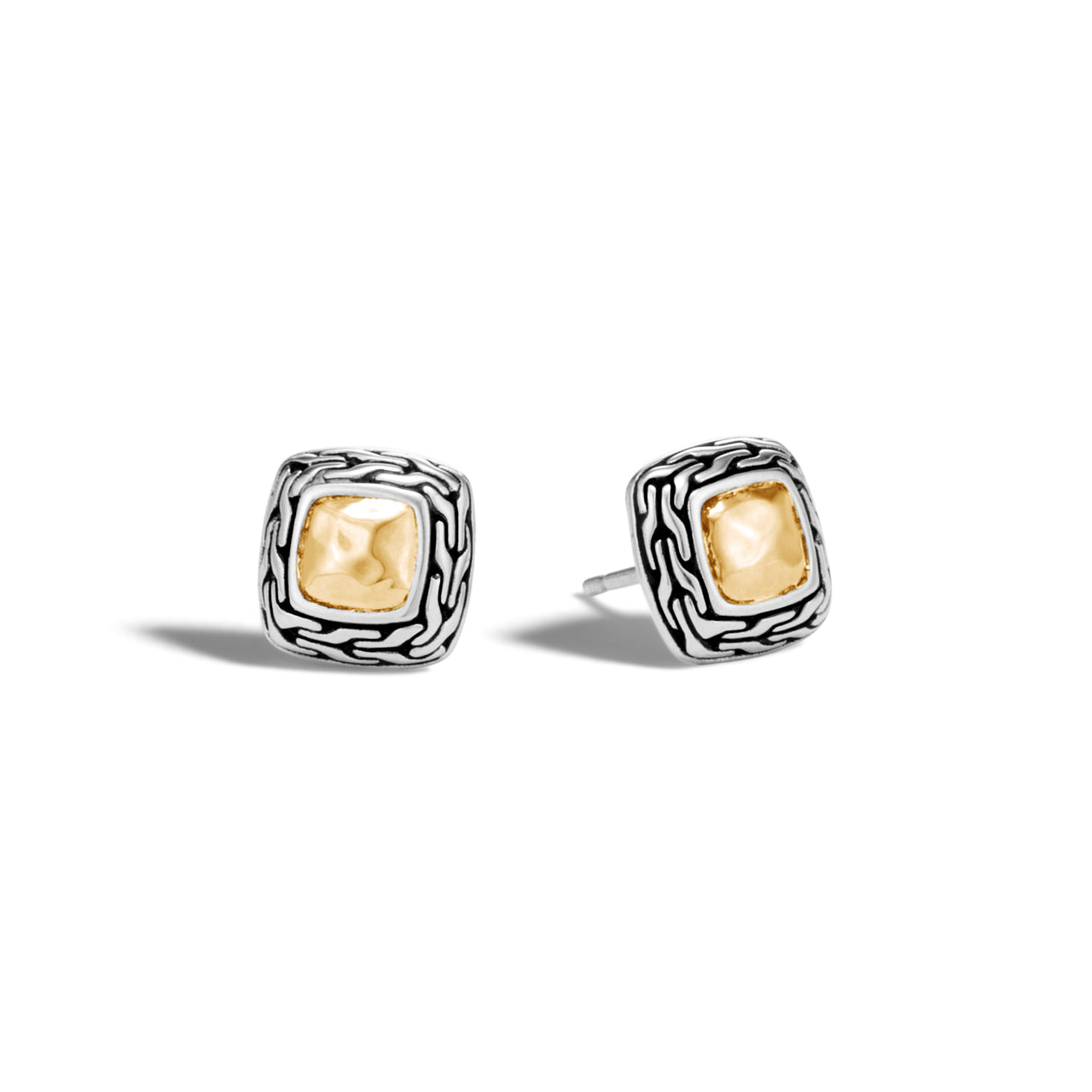 John Hardy Classic Chain Yellow Gold and Silver Hammered Stud Earrings