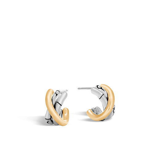 John Hardy Bamboo Sterling Silver and Yellow Gold Small J Hoop Earrings