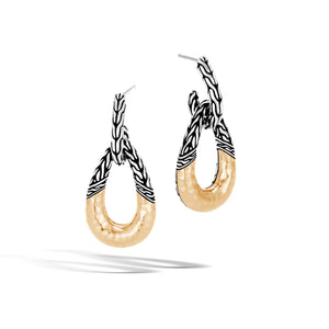 John Hardy Classic Chain Sterling Silver and Yellow Gold Drop Hoop Earrings