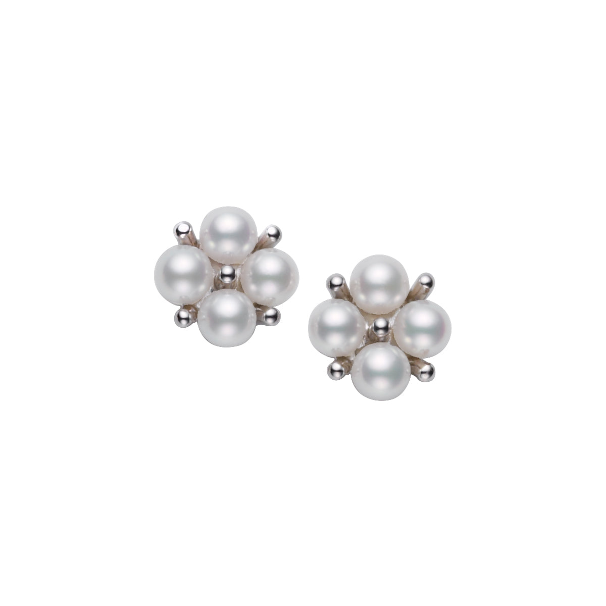 Mikimoto Japan Akoya Pearl and 18K White Gold Cluster Earrings