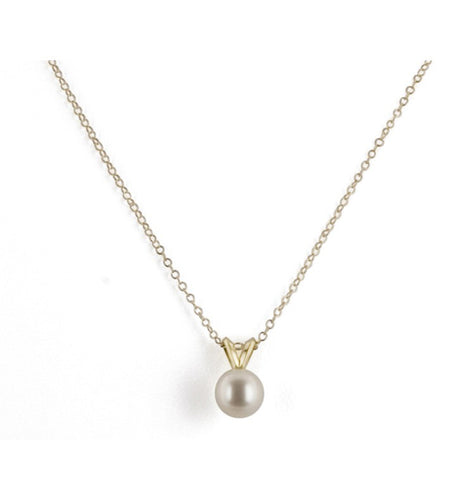 "Honora 14K Yellow Gold White Freshwater Cultured Pearl 16"" Pendant"