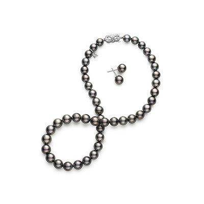 Mikimoto 10.9x8.1mm Black South Sea Pearl Strand Set with 9mm Stud Earrings