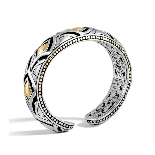 John Hardy Legends Naga Sterling Silver and 18K Yellow Gold 14mm Slim Cuff