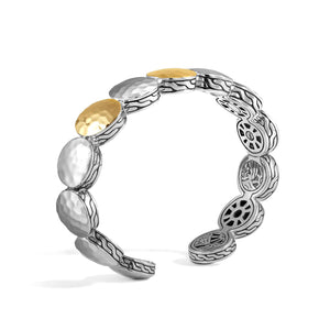 John Hardy Dot 18K Yellow Gold and Sterling Silver Three Station Flex Cuff with Palu Hand Hammering