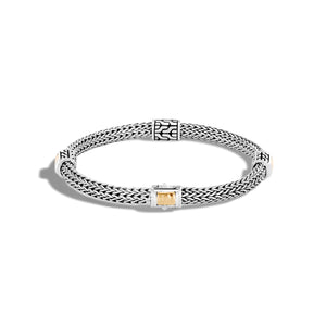 John Hardy Classic Chain Silver and Hammered Yellow Gold 5mm Four Station Bracelet
