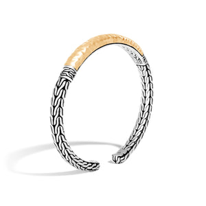 John Hardy Classic Chain Sterling Silver and Yellow Gold Slim Flex Cuff