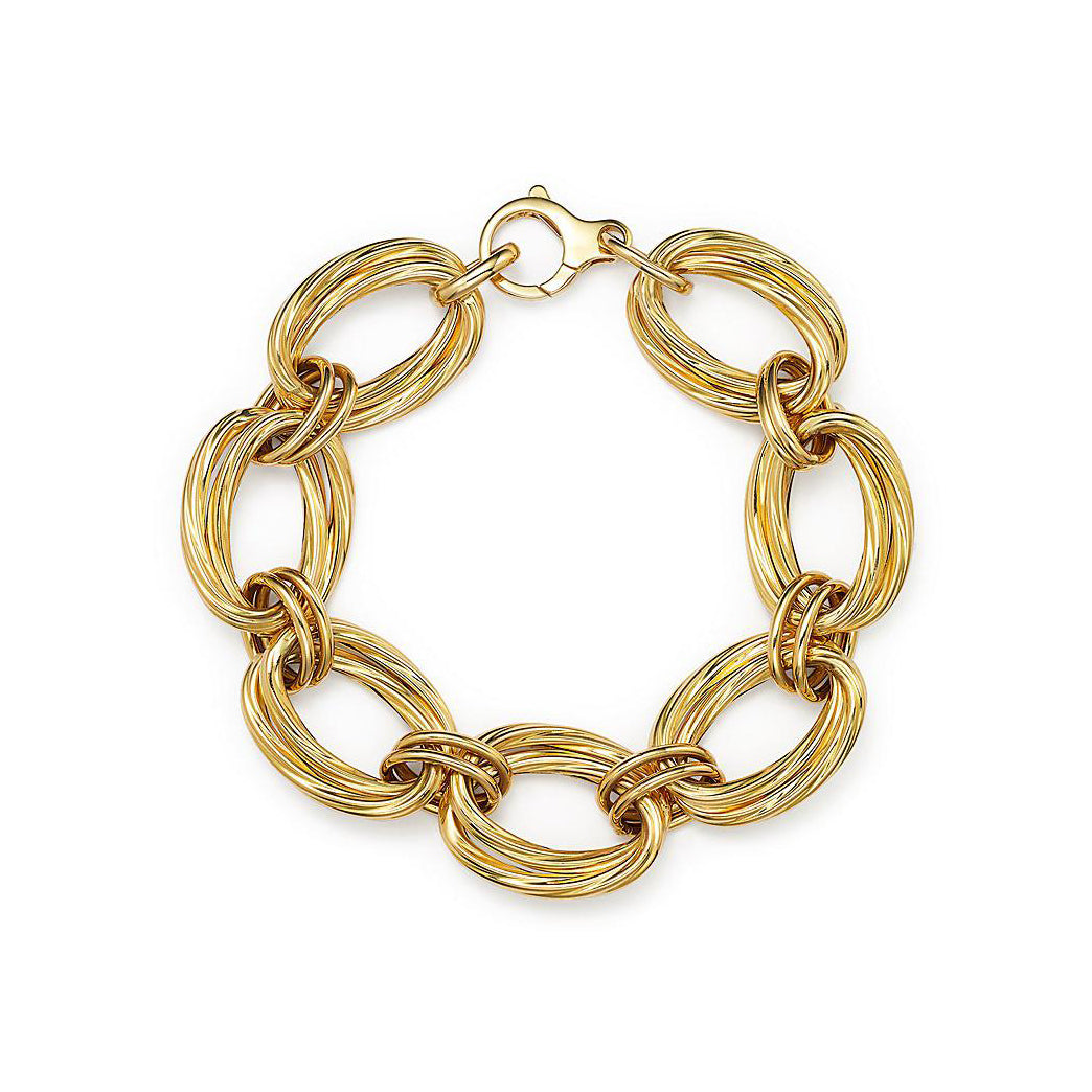 Roberto Coin Designer Gold 18K Yellow Gold Textured Oval Link Bracelet