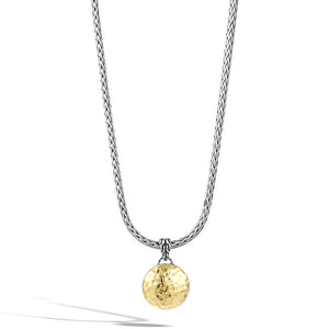 John Hardy Dot 18K Yellow Gold and Silver Small Round Pendant with Palu Hand Hammering