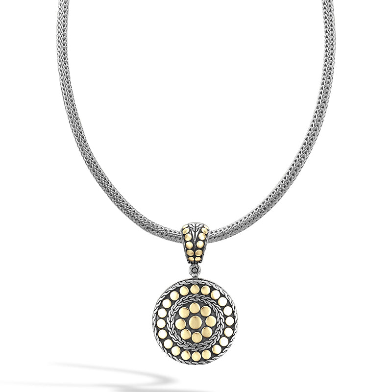 John Hardy Dot Yellow Gold and Sterling Silver Small Round Pendant