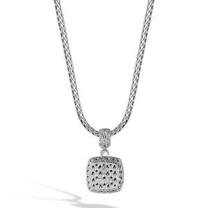 John Hardy Classic Chain Square Pendant with Black Sapphire
