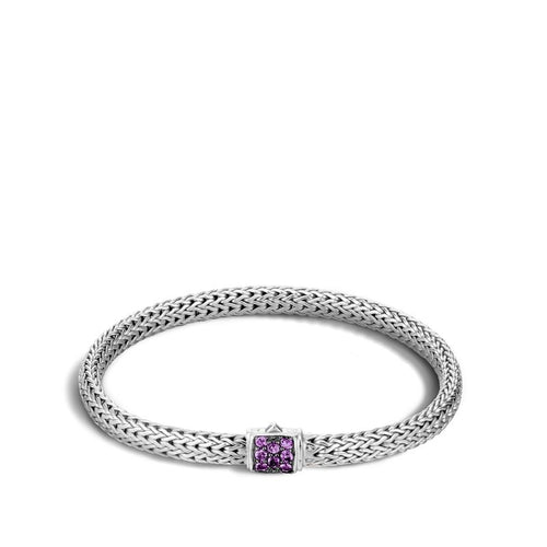 John Hardy Classic Chain Extra-Small Lava Bracelet with Amethyst Clasp