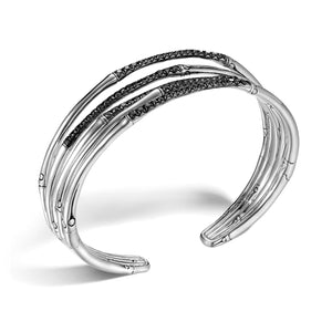 John Hardy Bamboo Sterling Silver Narrow Flex Cuff with Black Sapphire
