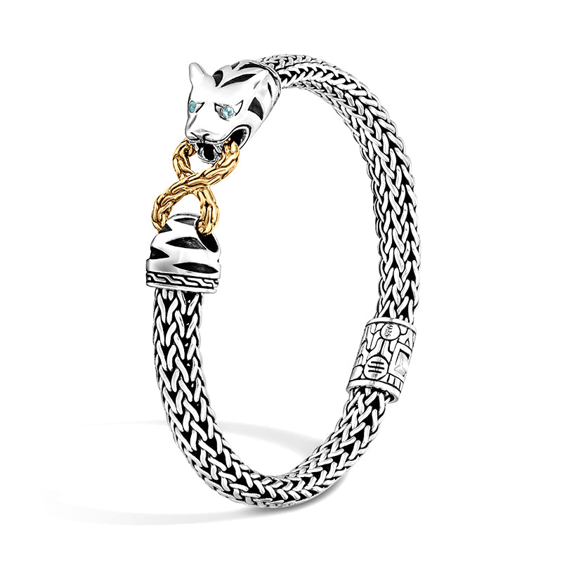 John Hardy Legends Macan Sterling Silver Small Bracelet with 18K Yellow Gold Infinity Accent