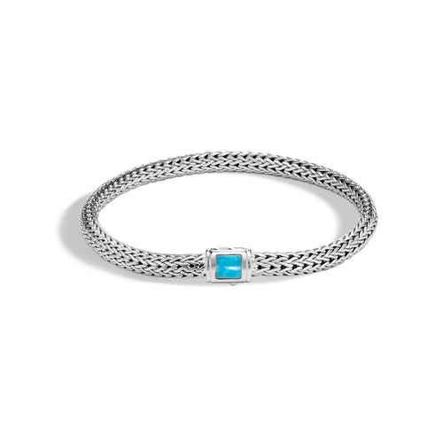 John Hardy Extra-Small Classic Chain Bracelet with Turquoise Clasp