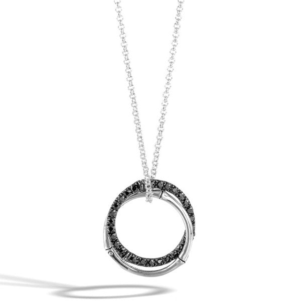 John Hardy Bamboo Silver Lava Medium Interlinking Pendant with Black Sapphire