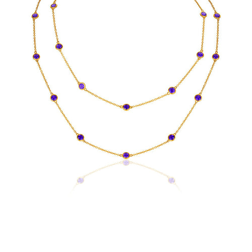 Marco Moore 14K Yellow Gold Amethyst Bezel Necklace