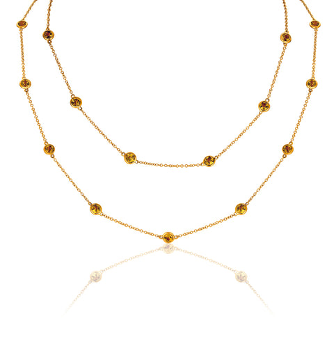 Marco Moore 14K Yellow Gold Citrine Bezel Necklace