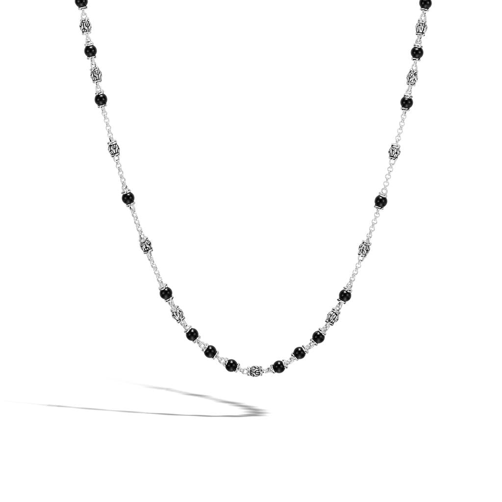 Sterling Silver Oval Onyx Chain Link Necklace /& Earring Set