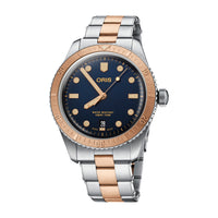 Oris Divers Sixty-Five Automatic Date Watch with Blue Dial and Steel and Bronze Bracelet
