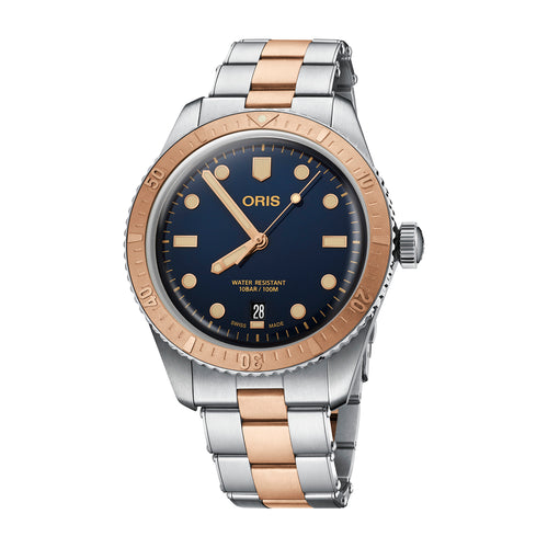 Oris Divers Sixty-Five Automatic Date Watch with Blue Dial and Steel and Bronze Strap