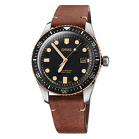 Oris Divers Sixty-Five Automatic Date Watch with Black Dial and Leather Strap
