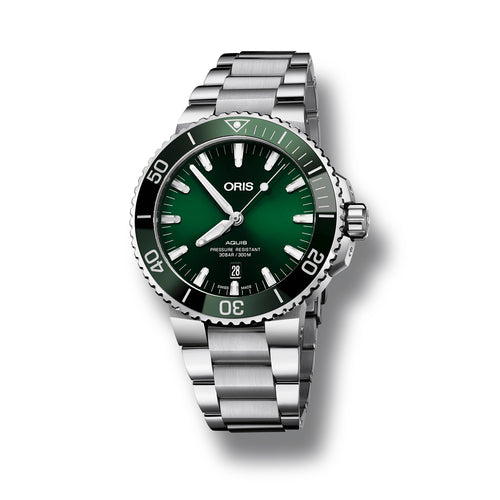 Oris Aquis Date Automatic Watch with Green Dial and Bracelet