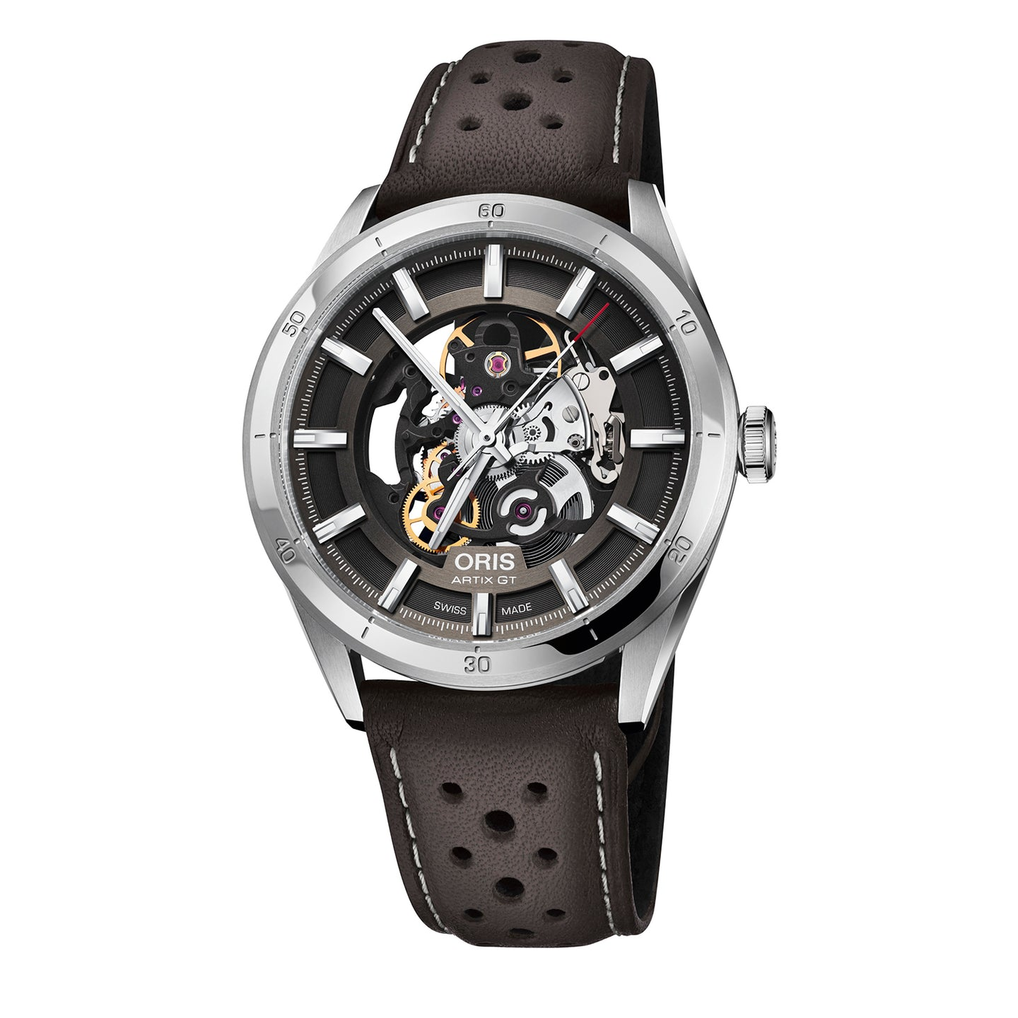 Oris Artix GT Skeleton Watch with Skeleton Dial and Brown Leather Strap