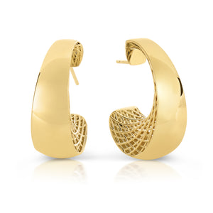 Roberto Coin Golden Gate 18K Yellow Gold J Hoop Earrings