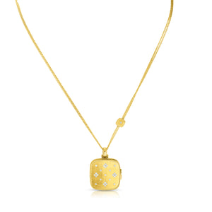 Roberto Coin Venetian Princess 18K Yellow Gold Diamond Locket Necklace