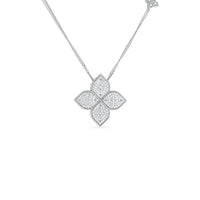 Roberto Coin Diamond Princess 18K White Gold Diamond Large Flower Pendant