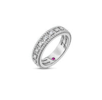 Roberto Coin Byzantine Barocco 18K White Gold Diamond Single Row Ring