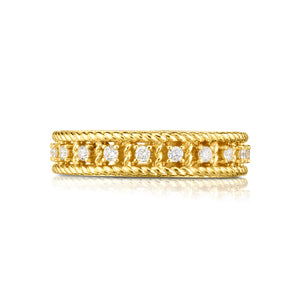 Roberto Coin Byzantine Barocco 18K Yellow Gold Diamond Single Row Ring