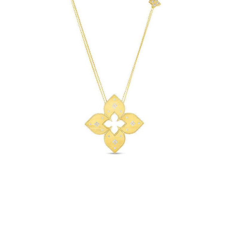 Roberto Coin Venetian Princess 18K Yellow Gold Flower Necklace