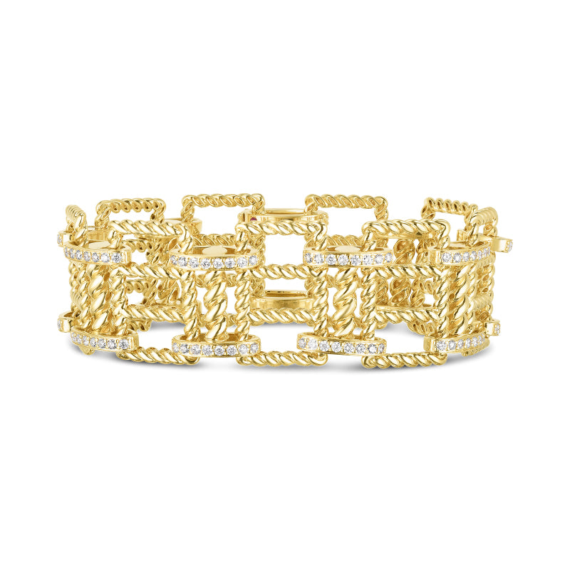 Roberto Coin New Barocco 18K Yellow Gold Wide Diamond Bracelet