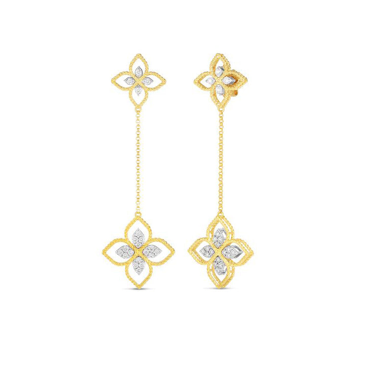 Roberto Coin Princess Flower 18K Yellow Gold Principessa Flower Dangle Earrings