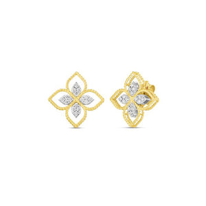 Roberto Coin Princess Flower 18K Yellow Gold Large Principessa Flower Cutout Earrings with Diamond Accents