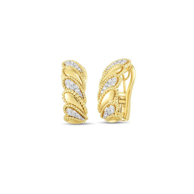 Roberto Coin Byzantine Barocco 18K Yellow Gold Diamond Polished Leaf Earrings