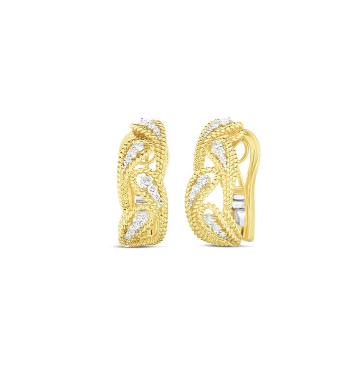 Roberto Coin Byzantine Barocco 18K Yellow Gold Diamond Alternating Leaf Patterned Earrings