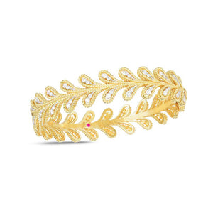 Roberto Coin Byzantine Barocco 18K Yellow Gold Diamond Laurel Leaf Bangle