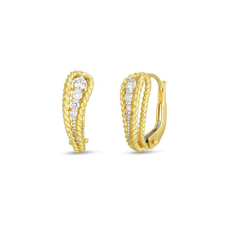 Roberto Coin Byzantine Barocco 18K Yellow Gold Diamond Single Paisley Earrings