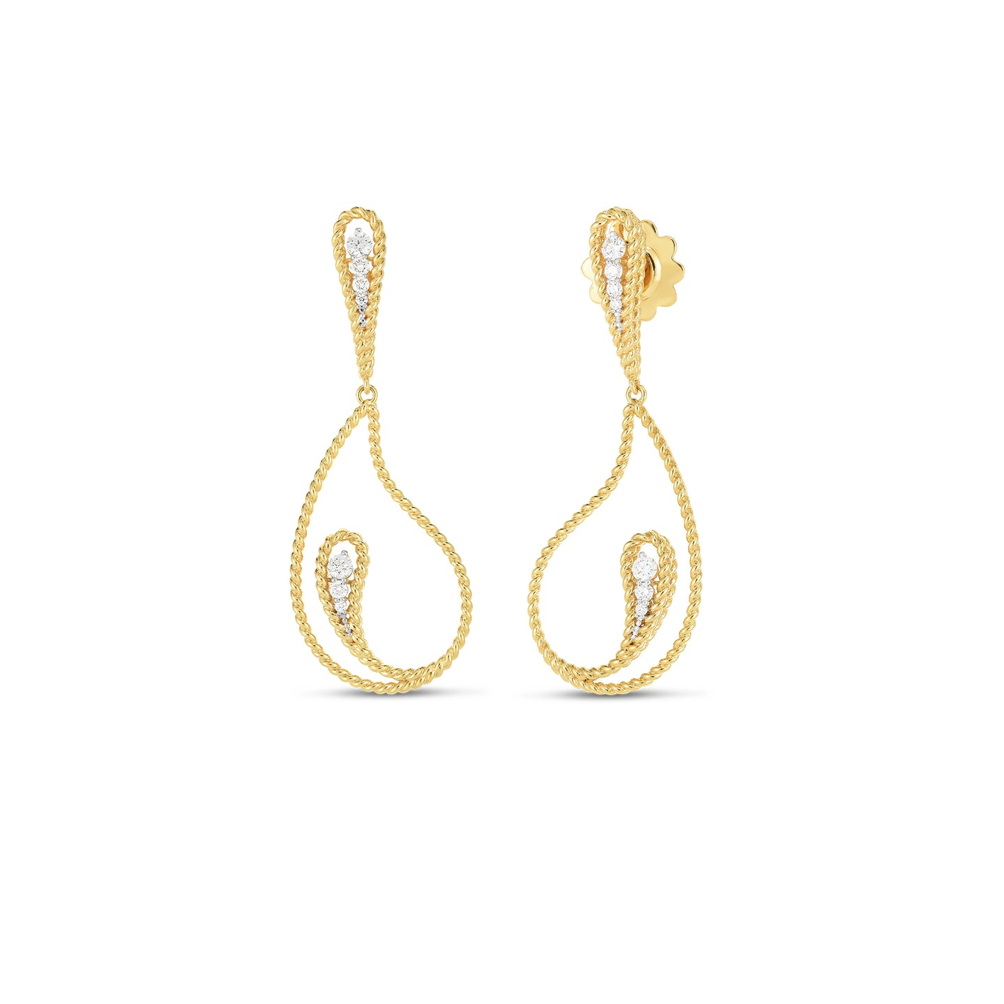 Roberto Coin Byzantine Barocco 18K Yellow Gold Diamond Paisley Drop Earrings
