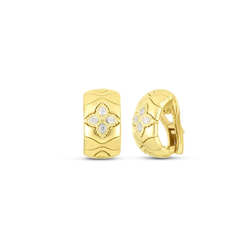 Roberto Coin Princess Flower 18K Yellow Gold with Diamond Flower Earrings