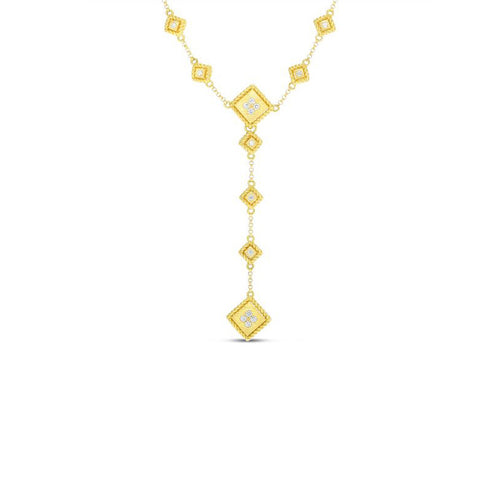 "Roberto Coin Palazzo Ducale 18K Yellow Gold ""Y"" Necklace with Diamond Accent"