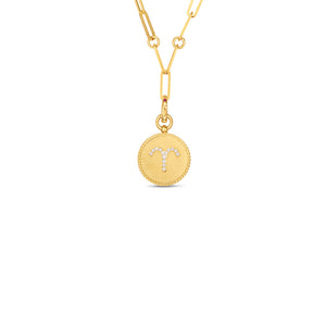 Roberto Coin Zodiac Medallion 18K Yellow Gold Diamond Aries Medallion Necklace