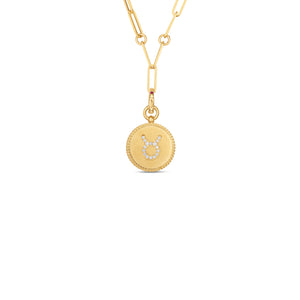 Roberto Coin Zodiac Medallion 18K Yellow Gold Diamond Taurus Medallion Necklace