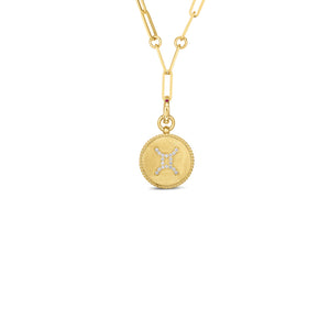 Roberto Coin Zodiac Medallion 18K Yellow Gold Diamond Gemini Medallion Necklace